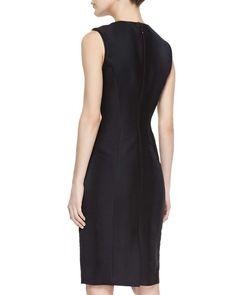 Sheath Dress With Leather Trim
