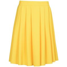 8 Knee Length Skirt (280 RON) ❤ liked on Polyvore featuring skirts, yellow, pleated skirt, zipper skirt, yellow pleated skirt, knee high skirts and yellow skirt
