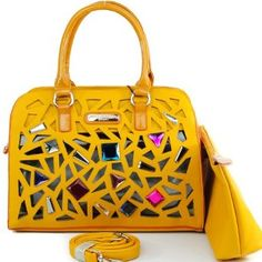 Nicole Lee Suzys Juliet Laser CUT Satchel Handbag Hollywood Celebrity 2 in 1 Rhinestone Gemstone Studded Laser Cut Structured Handbag Purse with Cosmetic Case / Cosmetic Pouch / Make-up Bag with Adjustable Shoulder Strap in Mustard Yellow,