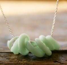 Honeydew - frosted honeydew melon colored glass rounds on sterling silver Fashion necklace. $29.00, via Etsy.