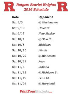 Printable Rutgers Scarlet Knights Football Schedule 2016