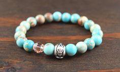 Lotus and Lava - Turquoise Jasper Women's Bracelet - Rabbit Bunny Jewelry Gift - Yoga Mala Bracelet - Turquoise Beaded Bracelet -Rabbit Gift
