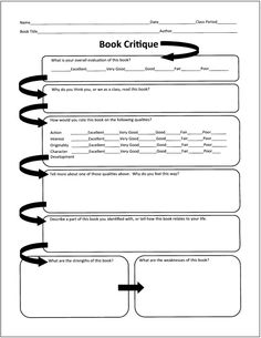 Book Critique Free Graphic Organizers for Teaching Literature and Reading