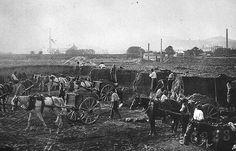 Bauarbeiten für den Gasometer in der Forsthausgasse, 1910 bis 1911