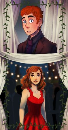 Harry in disguise at Bill and Fleur's wedding and seeing Ginny. <<< This is cute but I thought it was Hermione. (in my defence her movie dress is red) Harry Potter World, Fanart Harry Potter, Magia Harry Potter, Mundo Harry Potter, Harry Potter Artwork, Harry Potter Ships, Harry Potter Drawings, Harry Potter Books, Harry Potter Universal