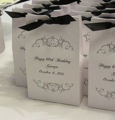 Make Bags To Bring Home 80th Birthday Party Favors 60th Decorations