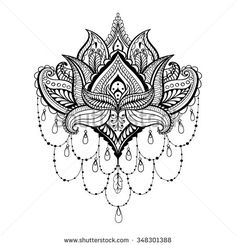Vector ornamental Lotus, ethnic zentangled henna tattoo, patterned Indian paisley for adult anti stress coloring pages. Hand drawn illustration in doodle style. - stock vector