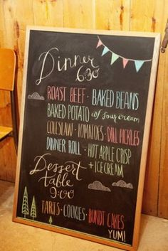 Colorful chalkboard menu (left)photographed by Kamp Photography via Green Wedding Shoes.