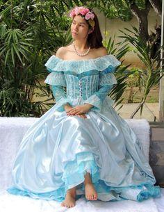 Blue Satin and Lace Vintage Dress Wedding by BestVintageFashion, ฿3500.00
