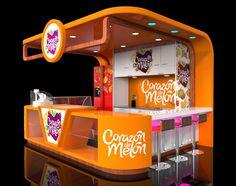 Echa un vistazo a este proyecto corazon de Kiosk Design, Display Design, Cafe Design, Booth Design, Store Design, Coffee Cafe Interior, Food Cart Design, Architecture Art Nouveau, Food Kiosk