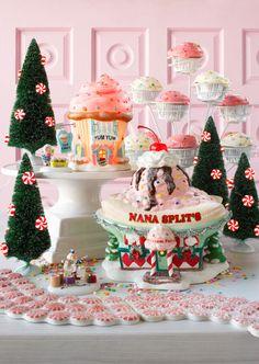 Department 56 North Pole Series Nana Splits, Yum Yum Cupcake, and lit peppermint trees
