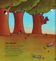 Versje 'Piep, zegt muis' uit het versjesboek 'Seizoentjes'. Auteur Elly van der Linden; Illustrator Debbie Lavreys; Uitgeverij Clavis