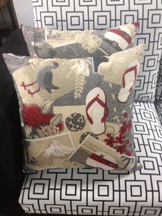 Kiwiana fabric design cushions by lucy