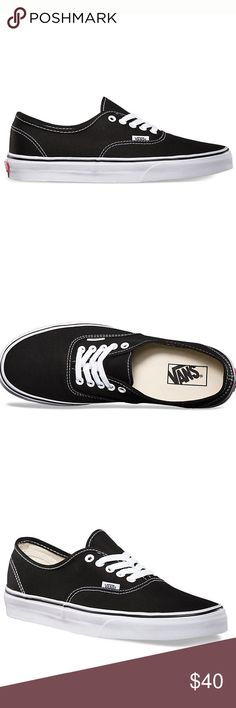 🖤 Black authentic vans! 🖤 only worn about 7 times. ORIGINAL PRICE IS 50$! (Plus 8 for shipping) There's no show of wear on them. On the outside they look brand new. But on the inside you can see that they have been worn ( darker on the inside) see last picture for more details. And the back of them where the vans off the wall thing is, it's starting to come off. Look at the 3rd pic for more info. Other then that they are still in great condition! They are size 11 in women and 9.5 in men…