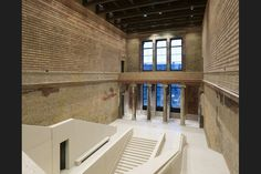 Neues Museum: The bold new stair in the restored staircase hall follows the form but not the detail of Stüler's original
