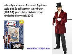 Foto van het #speelkaarten #werkboek voor #kinderboekenweek 2013 over sport en spel. Uitgave van #goochelaar Aarnoud Agricola, niet van het CPNB. De collage is samengesteld voor plaatsing bij een interview met de schoolgoochelaar in op de website van Trouw. #KBW13