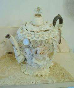 Buttons, lace and beads TeaPot