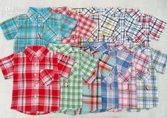 Wholesale Baby Shirts Children Shirts T-shirts Boy's Short sleeve T-shirts Cotton Shirts Plaid shirt ZP-613, Free shipping, $4.89-6.19/Piece | DHgate