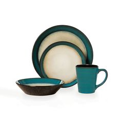 Pfaltzgraff Everyday Aria Teal 48 Piece Dinnerware Set #PfaltzgraffEveryday #bandedreactiveglaze
