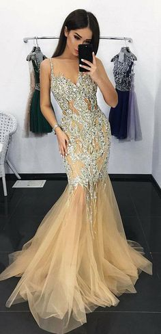Charming Mermaid Illusion Neck Tulle Long Prom Dress with Appliques Sequins OKA41 #mermaid #beading #tulle #long #prom #okdresses