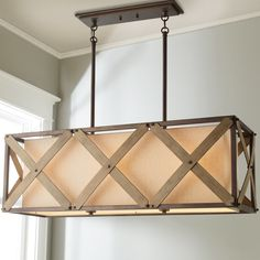 Rustic Crossed Island Chandelier beige_shade_gray_accents_iron
