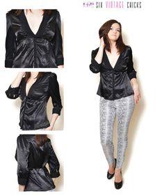 Black Shirt, 90s Sexy, Original Vintage Blouse, Elegant Blouse, Vintage Woman's Clothing Size L/40 by SixVintageChicks on Etsy