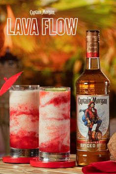 Our Lava Flow combines strawberry, pineapple, and coconut flavors in one icy rum. Our Lava Flow combines strawberry, pineapple, and coconut flavors in one icy rum recipe. Liquor Drinks, Cocktail Drinks, Cocktail Recipes, Beverages, Halloween Alcoholic Drinks, Acholic Drinks, Alcoholic Shots, Cocktail Desserts, Detox Drinks