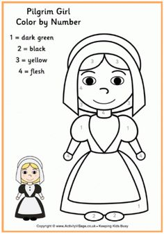 More Fun Than A Normal Thanksgiving Colouring Page This Pilgrim Girl Colour By Number Gets The Kids Matching Up Numbers And Colours To Finish Picture