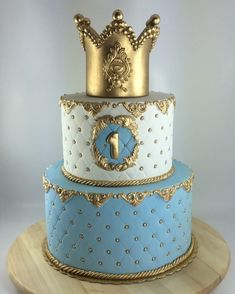 Cake Fondant Bautizo Bebe New Ideas Baby Birth Cakes, Baby Boy Cakes, Cakes For Boys, Fondant Crown, Crown Cake, Royal Cakes, Baby Shower Cakes, Cake Designs For Kids, Boys First Birthday Cake
