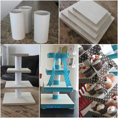 DIY Custom cupcake stand - see photo for credit and page of designer Dyi Cupcake Stand, Cupcake Towers, Baby Shawer, Candy Table, Candy Buffet, Dessert Table, Diy Cake, Diy Party, Birthday Decorations