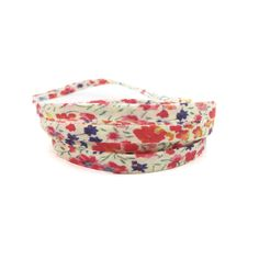 1m cordon spaghetti Liberty Phoebe fond blanc avec fleurs rouge, rose, bleu, multicolore - 1 mètre cordon liberty : Rubans, biais pour bijoux par mf-apprets-et-perles