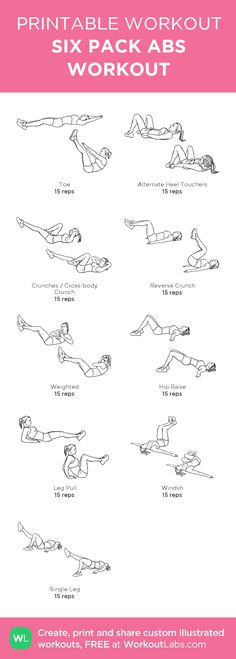 ●SIX PACK ABS WORKOUT●:my visual workout created at WorkoutLabs.com • Click through to customize and download as a FREE PDF! #customworkout