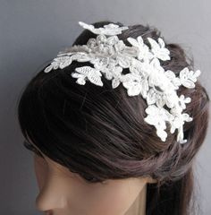 Wedding lace hair accessory, bridal fascinator hairpiece vintage weddings, IVORY bridal lace headband, lace headband flower girl, by LaFlowers