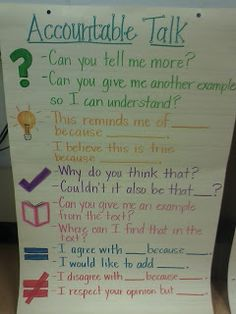 Third Grade Thinkers: Tell me a story. Accountable Talk anchor chart I love the images to match the phrase! Ela Anchor Charts, Reading Anchor Charts, Questioning Anchor Chart, Science Anchor Charts, 3rd Grade Classroom, 3rd Grade Math, Classroom Ideas, Classroom Norms, Fourth Grade Science