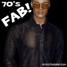 black disco shirt genuine NO modern day copies Back Braid, Disco Costume, Disco Shirt, Snug, 1970s, Mens Sunglasses, Modern, Shirts, Black