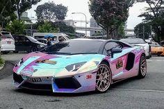 This rainbow chrome Lamborghini