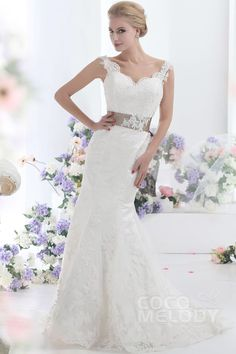 Hot+Selling+Trumpet-Mermaid+Sweep-Brush+Train+Lace+Wedding+Dress+CWVT13002+