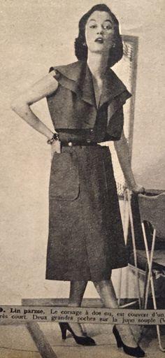 Vera Borea- 1951 Purple linen dress and cropped bolero jacket. Elle No. 288- June 4, 1951