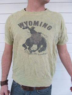 1940s Vintage 40s Wyoming Cowboy Western Bucking Horse Cotton Sweatshirt SS Tshirt Shirt Medium M. $400.00, via Etsy.
