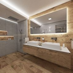A touch of countryside and nature, this is the RUSTIQUE bathroom. Although it is not a large space, designer Jakub has created a bathroom on 6 m² that not only provides comfort but also looks spacious Natural Bathroom, Wood Bathroom, Bathroom Renos, Small Bathroom, Bad Inspiration, Bathroom Inspiration, Modern Bathroom Design, Bathroom Interior Design, Shower Enclosure