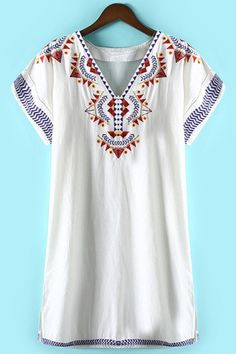 Geometric Pattern Embroidery Dress