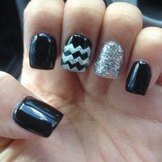 Cute black and glitter chevron nails