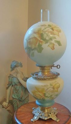 Yellow Roses Gone with The Wind Banquet Parlor Oil Style Lamp Electric | eBay