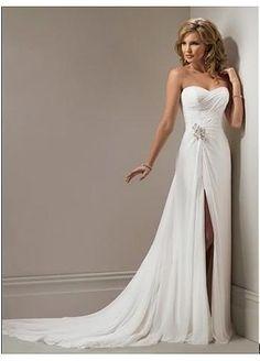 Chic Chiffon Sweetheart Neckline A-line Wedding Dress