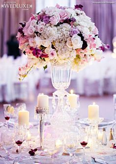 WedLuxe: table decor of candles and pretty floral centerpieces / Beautiful Wedding Reception and Ceremony decor ideas Mod Wedding, Purple Wedding, Wedding Events, Wedding Reception, Wedding Flowers, Wedding Table, Reception Ideas, Floral Wedding, Weddings