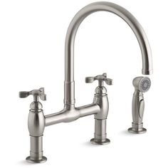 Kohler K-6131-3-VS Parq Two Handle Tri Deck-Mount Bridge Kitchen Sink Faucet with Side Spray 1.8 GPM Vibrant Stainless-eFaucets.com