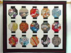 Asian Lanterns Wall Hanging Patchwork Quilt 21 X by sferradesigns
