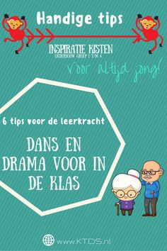 "Dans en drama gerelateerde tips bij het thema ""Voor altijd jong!"". Het thema… Drama School, Drama Games, Drama Queens, Teacher, Website, Activities, Learning, Fun Things, Artists"
