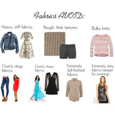 """""""SC Fabrics AVOID"""" by oscillate on Polyvore I agree with most... but not with the skinny jeans! ;-)"""