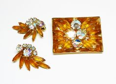 Juliana Delizza & Elster Earrings and Brooch Set - D and E Gold Tone and Aurora Borealis Rhinestones  Square Box Frame Pin Clip on Earrings by thejewelseeker on Etsy https://www.etsy.com/listing/274970072/juliana-delizza-elster-earrings-and